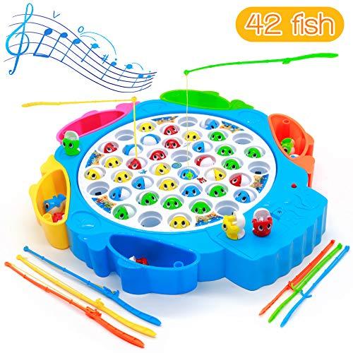 Symiu Juegos de Mesa de Pesca Musical con Caña de Pescar Juegos de Mesa Educativos...