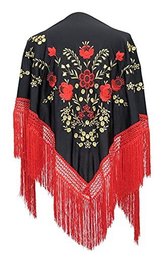 AMINA Mantón pico negro de flamenco con flecos rojos. Bordado ROJO-DORADO a una cara. Medida Grande 190X90cm