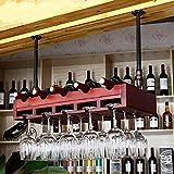 IG Porte-Bouteilles de vin en Bois Massif étagères de Suspension en Bois Massif,80 * 30cm,Rouge Cerise