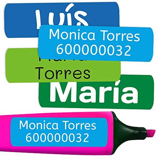 50 Etiquetas Adhesivas Personalizadas para marcar objetos, libros, fiambreras, etc. Medida 6 x 2 cm. Color 5