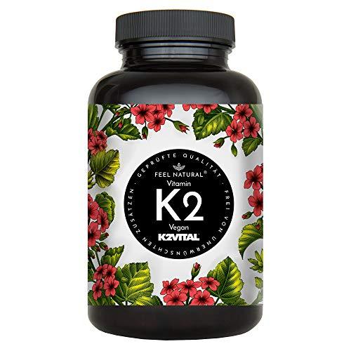 Vitamin K2 MK7-365 Kapseln. Hochdosiert mit 200µg (mcg) je Kapsel. Spitzenrohstoff K2VITAL® mit 99,7% All-Trans-MK-7, Laborgeprüft, ohne Zusätze wie Magnesiumstearat. Vegan, in Deutschland produziert