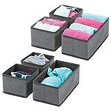 mDesign Juego de 6 cajas organizadoras – Cestas de tela transpirables para ropa interior, leggings, etc. – Organizadores de cajones multiusos para dormitorio o habitación infantil – gris oscuro/negro