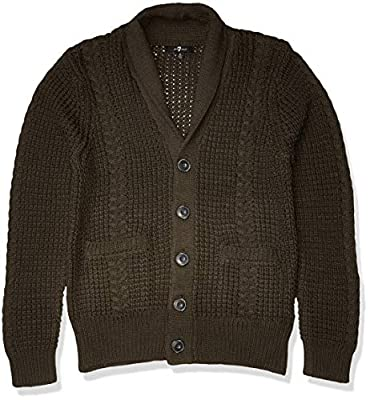 7 For All Mankind Men's Chunky Shawl Collar Cardigan Sweater, Olive, Medium by Seven For All Mankind Men's Collection
