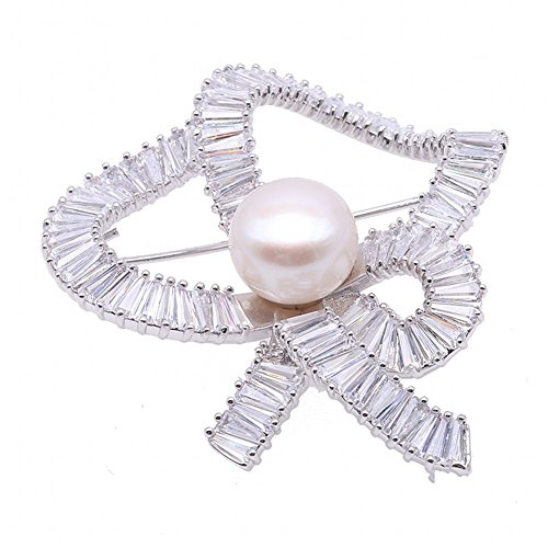 JYX - Broche con forma de lazo, 12,5 mm, perlas blancas, broche de solapa, broche para regalo