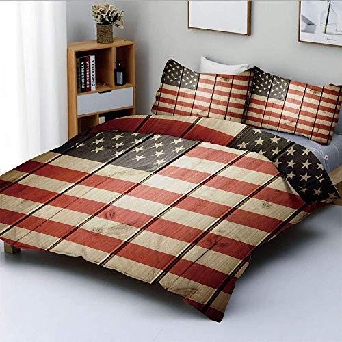 Juego de funda nórdica, bandera de EE. UU. Sobre tablero de madera de rayas verticales, kitsch de solidaridad con ciudadanos, arte decorativo, juego de cama de 3 piezas con 2 fundas de almohada, azul