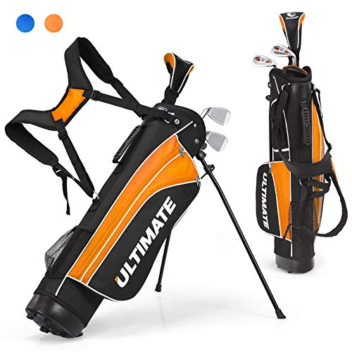 Tangkula Junior Complete Golf Club Set for Children Ages 8 and Up, Right Hand, Includes 3# Fairway Wood, 7# & 9# Irons, Putter, Head Cover, Golf Stand Bag, Perfect for Children, Kids (Orange)