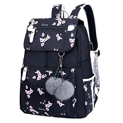 Schulrucksack Teenager Mädchen Rucksack Schule Jugendlich Schulrucksäcke Schultasche mit USB für Jugendliche Laptop Rucksäcke Damen Schul Schulranzen Rucksack Tagesrucksack Daypack Großer Wasserdicht