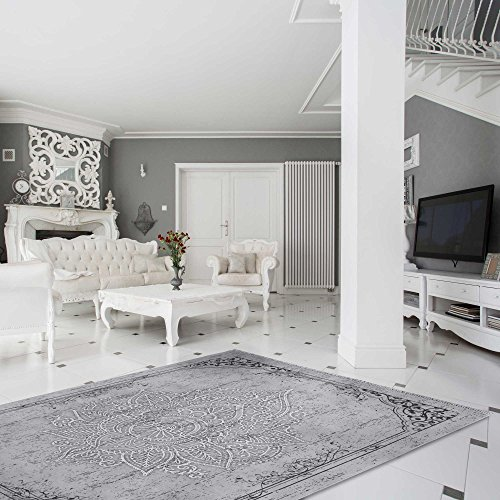 mynes Home Teppich Kelim Kilim Grau Schwarz Vintage Blüte Rokoko Rutschfester Badteppich waschbar pflegeleicht Modern, hochwertige Webung versch. Größen (160cm x 230cm)