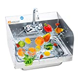 HOCCOT 304 Stainless Steel Sink, Wall Mounted Commercial Restaurant Sink, Hand Washing Sink with Side Splashes, NSF Certificated, Utility Sink for Restaurant, Kitchen, Bar, Outdoor, Garage, 17'x 15'