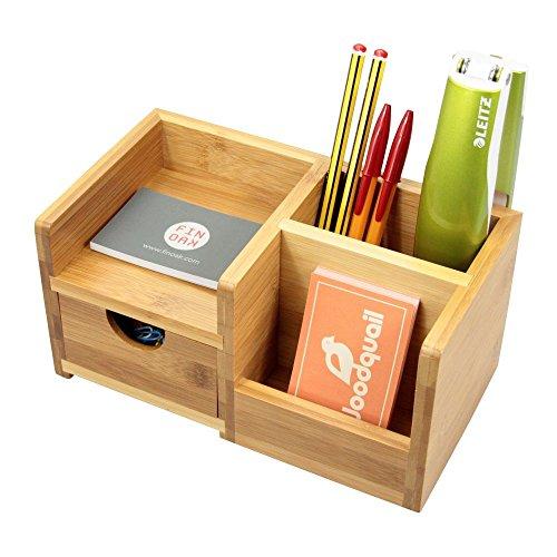 Organizer da scrivania, portapenne e cassetto porta oggetti, 4 scomparti Realizzato in bambù naturale.