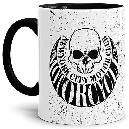 Skull-head Becher/Totenkopf-Tasse Innen & Henkel Schwarz mit Aufdruck Rustikal mit Schriftzug -new york citiy motor club, motorcycle-