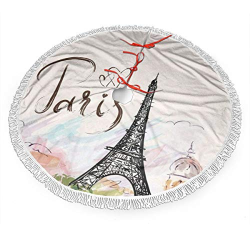 MSGUIDE Paris Christmas Tree Skirt 48 Inch Eiffel Tower Large Xmas Tree Decor Mat for Holiday Party Decor Christmas Decoration