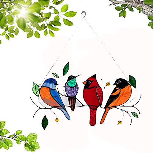 Multicolor Birds on a Wire High Stained Glass Window Panel, Bird Series Ornaments Pendant Home Decoration (1PCS)