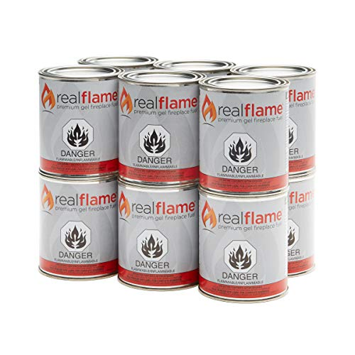 Real Flame Gel Fuel Cans - 12-Pack - Gelled Isopropyl Alcohol for Indoor or Outdoor Fireplaces