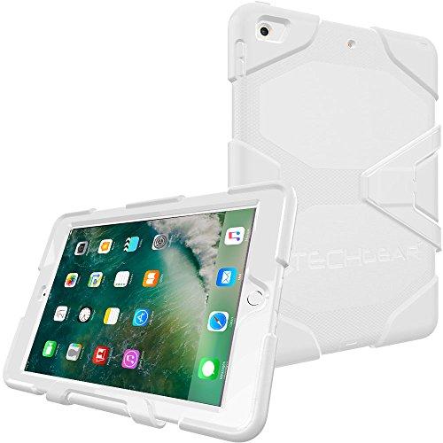 TECHGEAR G-Shock Funda Compatible con iPad 9.7' 2018/2017 (6ª / 5ª generación) - Funda Protectora Prueba de Choques con Soporte - Carcasa Niños Escuelas Constructores Trabajadores [Blanco]