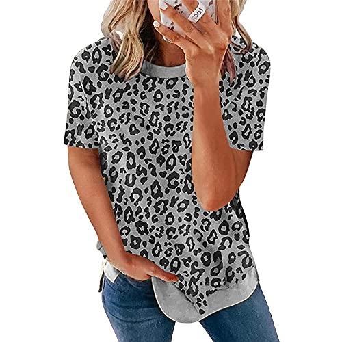 Shirt Mujer Manga Corta Suelto Cuello Redondo Empalme De Leopardo Mujer Top Generoso Casual Personalidad De Moda Elasticidad Colocación Simplicidad Vacaciones Viajes Mujer Blusa E-Grey XL