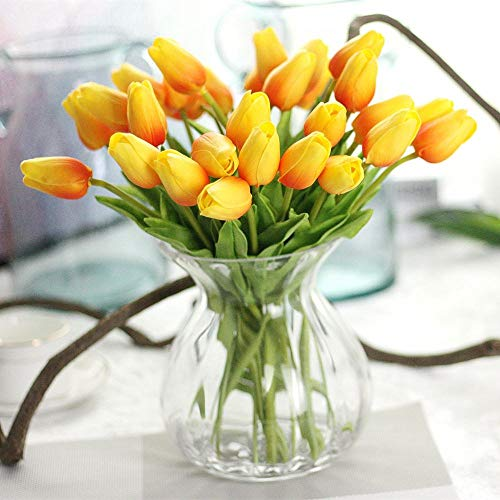 Unechte Blumen,Künstliche Deko Blumen Gefälschte Blumen Blumenstrauß Seide Tulpe Wirkliches Berührungsgefühlen, Braut Hochzeitsblumenstrauß für Haus Garten Party Blumenschmuck 10Stück (Orange)