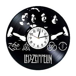 Kovides Led Zeppelin Room Art Rock Band Clock Lp Vinyl Retro Record Wall Clock Vintage Led Zeppelin Gift Birthday Gift for Fan Rock Music Art Xmas Gift Idea for Him Led Zeppelin Clock