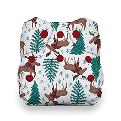 Thirsties Natural Newborn All in One Cloth Diaper, Snap Closure, Merry Moose-mas (5-14 lbs)