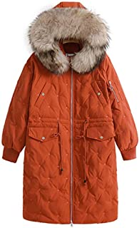 Winter Ms. Jacket Warm Down Jacket Female Long Section Cotton Clothing Autumn and Winter New Hooded Coat Large Fur Collar Down Jacket Long Over The Knee Female Jacket (Color : Orange)