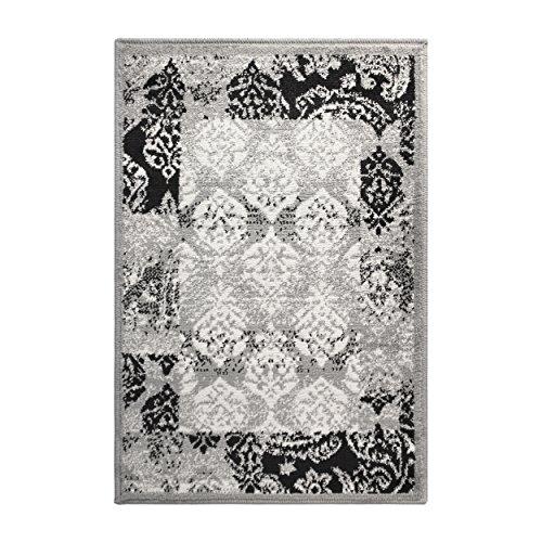 Superior Modern Mystique Collection Bereich Teppich, 244cm x 305cm (2,4m x 10ft), Polypropylen, schwarz/grau, 2' x 3'
