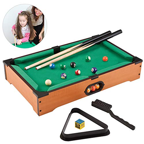 HAKOL Fun Little Games- Mini Pool Table for Adults and Kids Billiard Game- Portable Pool Table- Small Billiard Table 8 Ball Pool Decorations for Pool Den- 20 Inch Adults and Kids Pool Table for Pool
