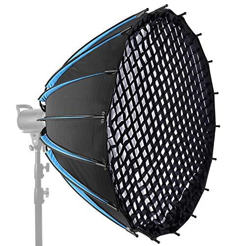 Neewer 120cm Caja Blanda Parabólica Hexadecagón con Rejilla y Bolsa de Transporte Caja Blanda Portátil para Luces LED y Flash de Estudio con Montaje Bowens Difusor