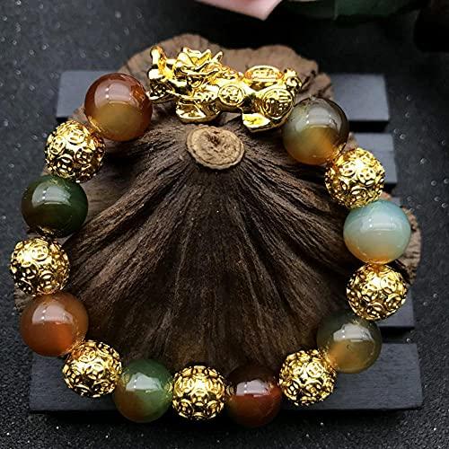 Feng Shui pixiu Riqueza Pulsera de Cristal curación Chakra con Abalorios de Sutra Oro pixiu / piyao atrae Buena Suerte Amor Brazalete Regalo para atraer Riqueza y Buena Suerte-Seducir