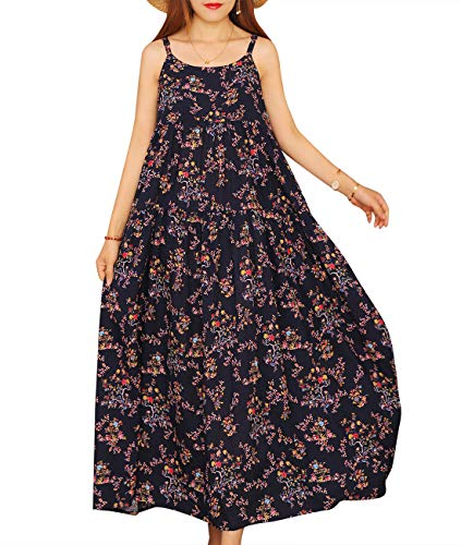 YESNO Women Casual Loose Bohemian Floral Print Empire Waist Spaghetti Strap Long Maxi Summer Beach Swing Dress XS-5X E75-CR30XXL