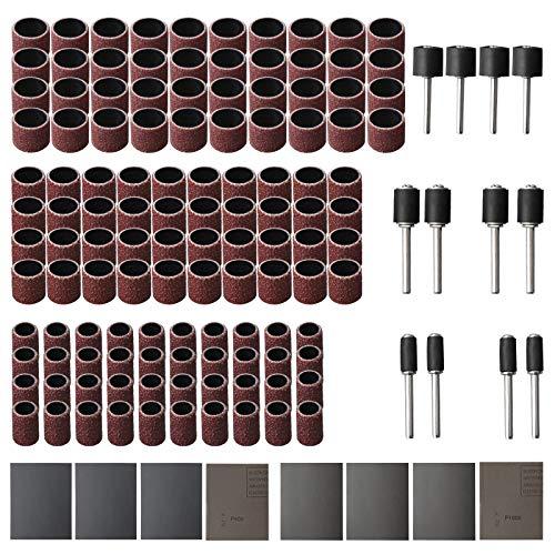 Juego de 132 manguitos de lija (80 grán) y pasadores abrasivos de 3 mm para herramienta giratoria Dremel, para pulir madera, uñas, formas de resina epoxi, joyas