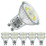 EACLL Bombillas LED GU10 6000K Blanco Frio 4.8W Fuente de Luz 585 Lúmenes Equivalente 50W Halógena. AC 230V Sin Parpadeo Focos, 120 ° Spotlight, Luz Diurna Blanca Fría Lámpara Reflectoras, 10 Pack