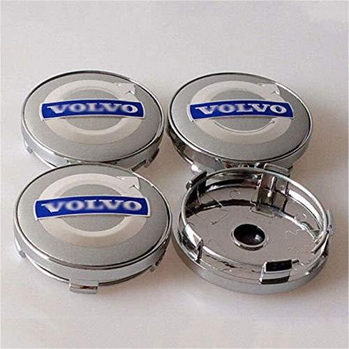 4PCS 60mm Metall Auto Rad Radnabenkappen Rad-Mittelkappen-Abzeichen-Logo für V-olvo S40S60L S80L XC60 XC90,Silver Blue