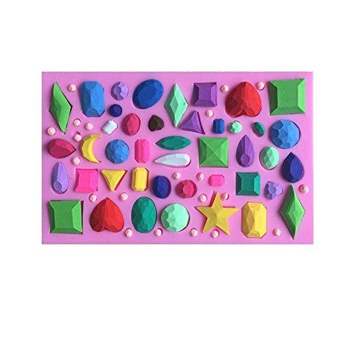 Stampo a forma di piccoli diamanti e pietre preziose per fondant, torte, cioccolatini