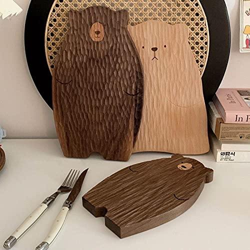 PPuujia Tabla de cortar tabla de madera para cortar bloques de cortar con forma de oso bandeja de pan de nogal negro tabla de cortar de haya (color: 23 cm)