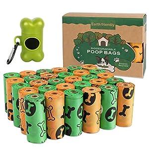 Bolsas Caca Perro,Bolsas para excrementos de perro 30 rollos y 1 dispensador.Biodegradable Bolsa de Caca ecológico e inofensivo,Grueso y a prueba de fugas,con un fresco aroma a lavanda