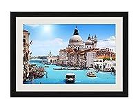 ブラック木製フレーム ホーム装飾ポスター 額入り絵画(夏にヴェネツィア、運河、家、ボート)50x35cm