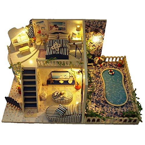 XJLJ Casa De Mu?ecasDIY Ensamblado Hut Santorini Modelo Juguetes Regalo Creativo Casa De Mu?ecasKitMueblesRegalo De Cumplea?os