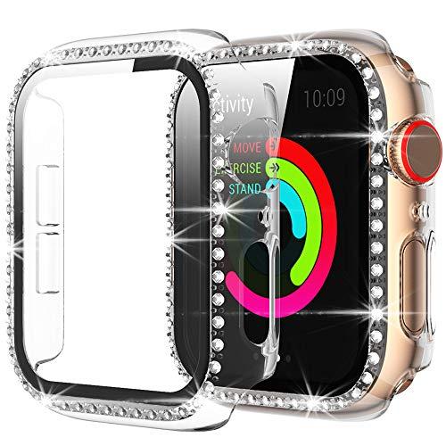 Miimall Compatibile con Apple Watch Series 6/SE/5/4 40 mm custodia con pellicola protettiva in vetro temperato, strass e glitter in policarbonato rigido per iWatch serie 5/4, trasparente