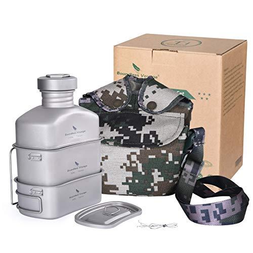 Boundless Voyage Titanium Mensa militare con borsa mimetica grande capacità a forma di rene, set di pentole da campeggio con coperchio e catena da appendere Ti15158B