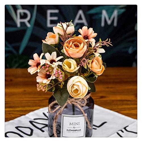 DFSDG Herbst Gefälschte Tee Rose Silk Blume Herbst Chrysantheme Daisy Künstliche Kunststoff Blume Hochzeit Home Zubehör Dekoration Raumdekoration (Color : Orange)