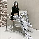 Pantalones Deportivos Grises Mujer Ins High Street Adelgazamiento Suelto y Cintura Alta a Juego Estilo Coreano cordón Recto-Gris_SG