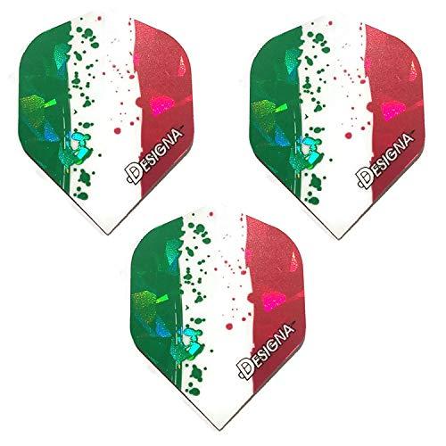 Art Attack Designa Dart-Flights, Italienische Flagge, rot, weiß und grün, holografisch, stark, Standard-Flights, 1 Set