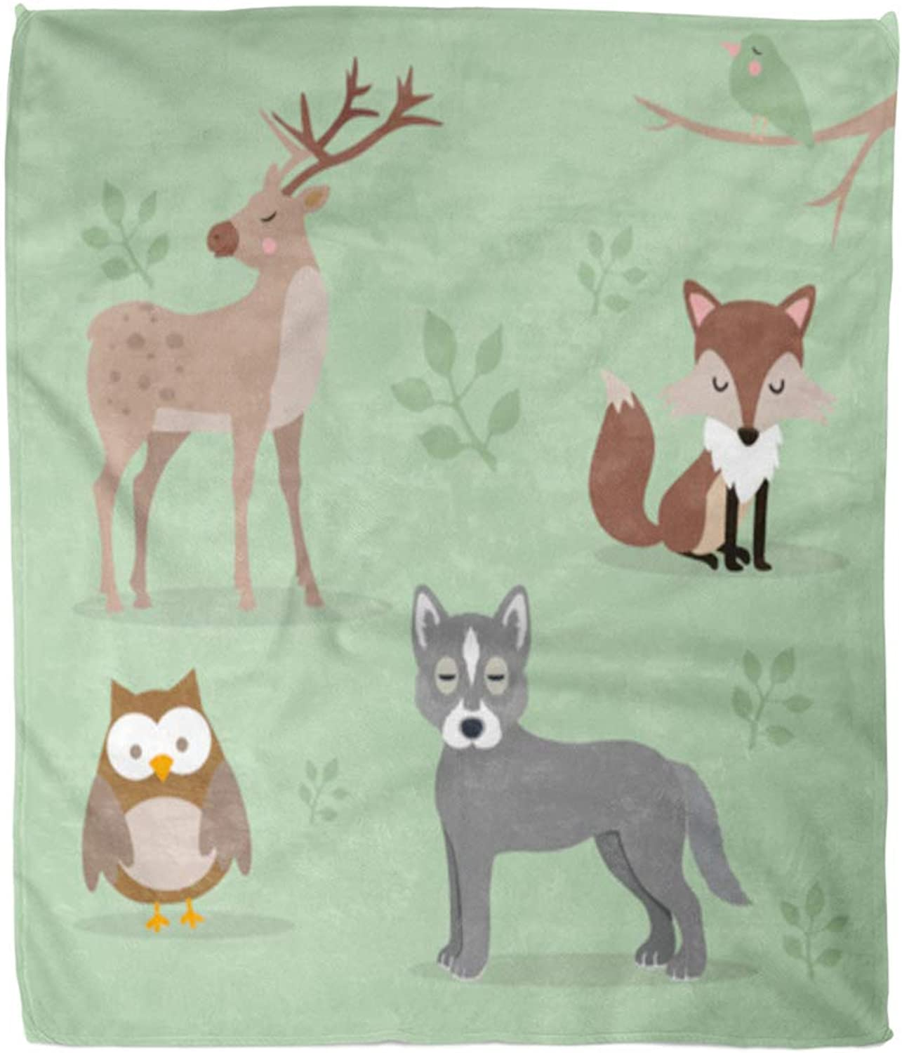 Emvency Throw Blanket Warm Cozy Print Flannel Woodland Pack of Forest Animals Bird Cartoon Comfortable Soft for Bed Sofa and Couch 60x80 Inches