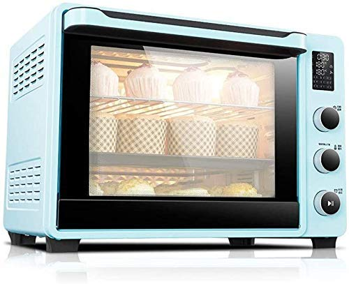 Mini-four met elektrisch fornuis, Thuis Bakken Cake Oven, 40 Liter Thuis Automatische Mini Oven, LED-beeldscherm, Dual Temperature Probes, traploze regelaar Temperatuur instellen, roze, groen 8bayfa