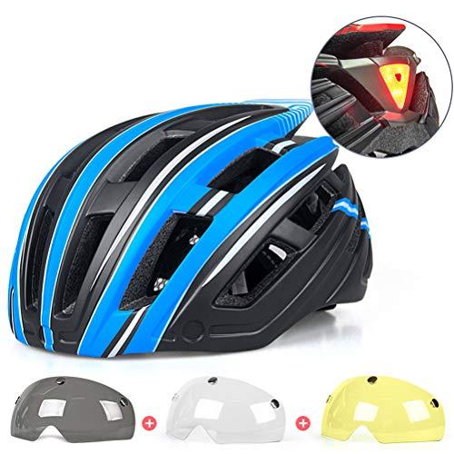 Helmet Casco De Ciclismo Todo Terreno Ajustable Cascos De Bicicleta De Montaña De 22 Hoyos con Gafas De 3 Piezas, Equipo De Conducción De Seguridad Cómodo para Unisex(Color:Azul)
