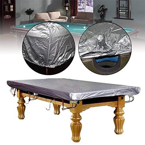 Buyfunny01 Abdeckung für Billardtische, wasserdicht, PVC-Billard-/Snooker-Tisch, Staubschutz, rissfest, Rundumschutz, nicht null, silber, 2.4x1.3m