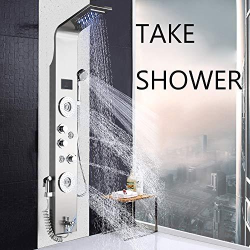 JunSheng Panel columna ducha sistema ducha de alta calidad de acero inoxidable con indicador de temperatura LED ducha hidromasaje con 4 chorros dotado de 5 funciones níquel cepillado