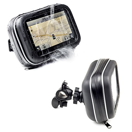 Motorcycle Handlebar Bike Mount With Waterproof Case For Garmin Drive Drivesmart Driveassist 52 51 50 55 Driveluxe 52 LMT-S 50 40 Dezl Nuvi TomTom Via 1425M 1525M 1525TM Go 52 520 5200 Trucker 550 GPS