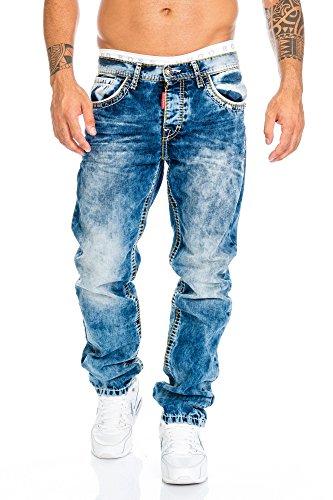 Cipo & Baxx Herren Jeans Hose mit Nähten, Blau, 38W / 32L