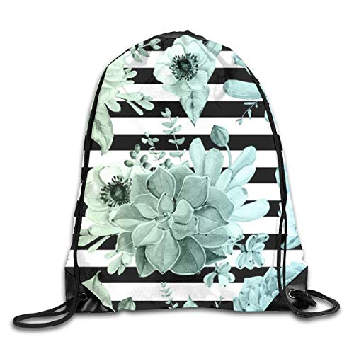 Drawstring Bag Rucksack Drawstring Backpack Succulents in The Garden Teal Blue Green Gradient with Black Stripes for Picnic Gym Sport Beach Yoga Drawstring Sackpack Bag 36X43CM